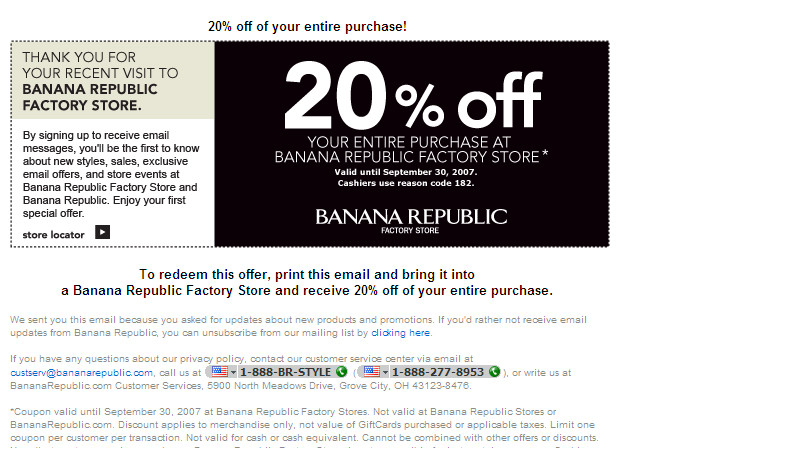 coupons for banana republic outlet