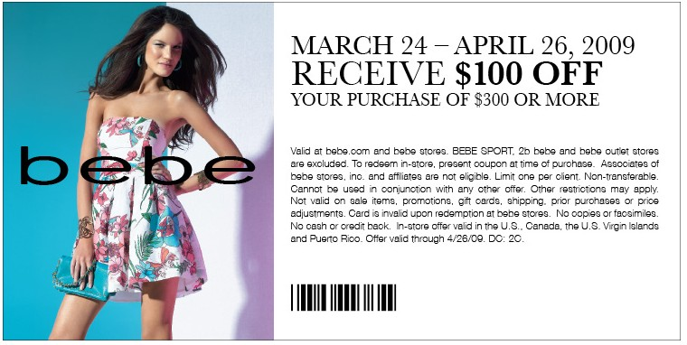 Bebe coupon codes