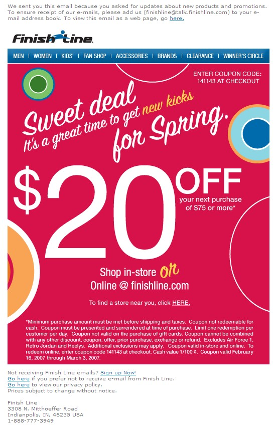 Coupon code finish line