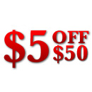 <font color=royalblue>$5 off $50 purchase</font>